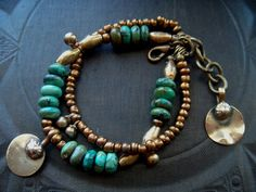 Turquoise African Beads and Brass Bracelet by yuccabloom on Etsy, $46.00