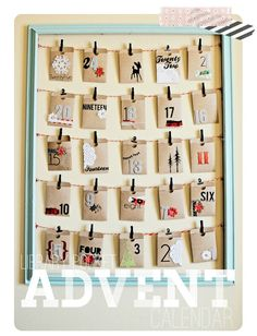 23 DIY Advent Calendars That Make the Countdown to Christmas Even More Joyful. Library Pocket Advent Calendar: Not much fits in these envelopes, but you can always write clues to larger presents on slips of paper. Get the directions from Ruffled Sunshine. Christmas Countdown, Christmas Calendar, Noel Christmas, All Things Christmas, Nordic Christmas, Modern Christmas, Christmas Stockings, Make An Advent Calendar, Homemade Advent Calendars