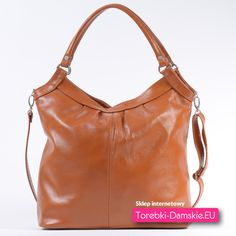 Skórzana torebka w kolorze naturalnej skóry - jasny brąz. Mieści format A4. Dwa uchwyty i długi pasek. 100% Skóra naturalna licowa