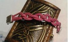 pulsera trenzada  cuero,zamak artesanal