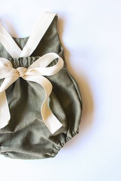 Handmade Olive Green Linen & Lace Romper | StandardOfGraceShop on Etsy