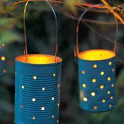 Martinmas lanterns made out of old tin cans.