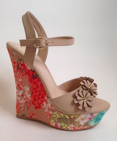 Bamboo Nude Pompey Wedge   zulily