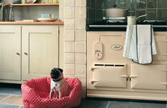 Classic 2-oven AGA with Fired Earth stone Lustre tiles. Arts and Crafts,Craftsman kitchen
