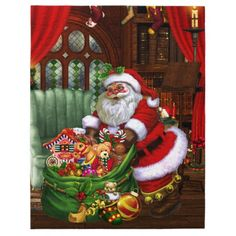 Square Car Magnet x Santa Claus! Santa Claus brings the gifts to you! A cute Santa Claus with a present bag und many gifts in a living room! thanks to the customer! Christmas Tree And Santa, Christmas And New Year, Christmas Fun, Christmas Decorations, Christmas Ornaments, Holiday Decor, Christmas Cards, Magical Christmas, Vintage Christmas