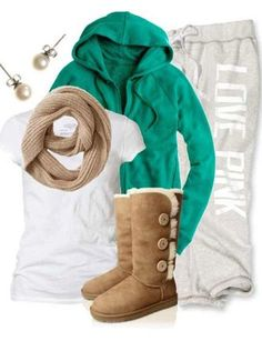 tshirt, hoodie, Capri length sweat pant with elastic bottom pushed up to knee, ugg boots makes a great lazy day outfit!