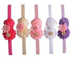 Baby Girl Headband Toddler Elastic Flower Hair Band Crystal Kids Headwear 5 Pcs