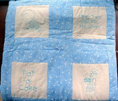16 Square Nursery Rhyme Quilt Blue Star Fabric Border by cdosehn, $24.99