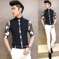 Hot Style 2014 Summer Cool Man Fancy Slim Shirt Unique Print Patchwork Men Party Dress Shirts $24.88