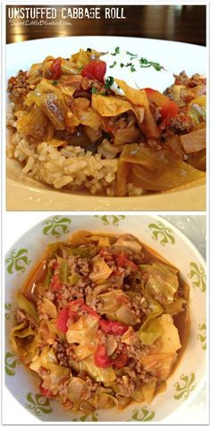 UNSTUFFED CABBAGE ROLL - Big bowl of comfort!  Quick and easy meal is sure to warm you up and have your family raving!!  The same delicious taste as stuffed cabbage rolls without all the work - no rolling or stuffing involved, so simple to adapt to your liking. A winning recipe! |  SweetLittleBluebird.com