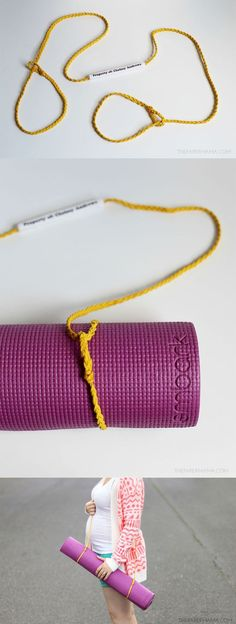 Learn how to make this no sew yoga mat strap. It keeps my mat rolled together and its an easy way to carry to class. If you know how to braid you can make this strap. Ready to make your own?