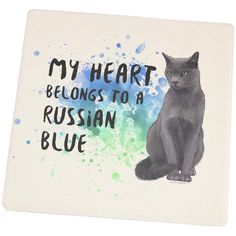 My Heart Belongs Russian Blue Cat Square Sandstone Coaster