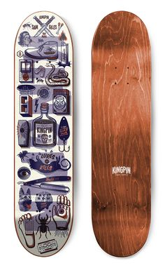 Illustrator: Andrew Fairclough of Kindred Studio Surfboard Skateboard, Skateboard Design, Skateboard Decks, Pop Art, Snowboard Design, Longboard Decks, Old School Skateboards, Doodle Art Drawing, Skate Art
