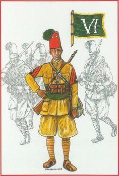 """Regio Esercito - Truppe Coloniali - Buluk-Basci del VI Battaglione Col. """"Cossu"""" conosciuto per la tradizionale eleganza dei suoi Ascari. Fascia e fiocco Verde. - 1940-194, A.O.I."""