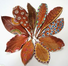 This arrangement of leaves is beautifully painted & then set out in a circular design. Leaf Crafts, Diy And Crafts, Crafts For Kids, Arts And Crafts, Autumn Art, Autumn Leaves, Dry Leaf Art, Palm Frond Art, Leave Art