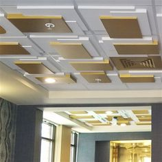 The overlapping rectangular planar design of this contemporary plaster ceilings tile, recalls the work of Joseph Hoffman and early Cubist Architectural Styles.