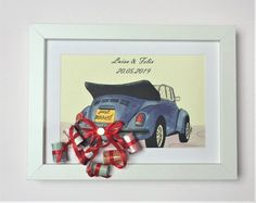 Money gifts - money gift to the wedding frame with picture au .- Money Gifts – Wedding Money Frame with Picture Car – a unique product by Wangler-Design on DaWanda - Unusual Wedding Gifts, Wedding Gifts For Groomsmen, Unique Wedding Gifts, Unique Weddings, Gift Wedding, Wedding Frames, Wedding Cards, Our Wedding, Money Frame