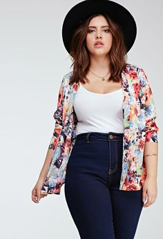 Plus Size FOREVER 21+ Abstract Floral Print Jacket