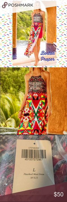 """NWT Boston Proper Abstract Maxi Dress Vented Sides Inspired by wanderlust, this gorgeous maxi dress is patterned in bold shapes and brilliant colors. A halter neckline bares your sunkissed shoulders, crystal embellishment adds a touch of sparkle and distinctive side slits reveal a sexy mini skirt. It's time to pack for that island getaway! • Polyester. • Hand wash. • Effortless: easy fit with slight shaping. • Maxi: Approx. 57""""-58"""". • Size L (14-16).  Brand new in original package with tags…"""