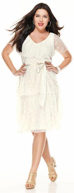 Plus Size Tiered Lace Dress image Plus Size Party Dresses, Cute Dresses, Plus Size Outfits, Coral Dress, Lace Dress, White Dress, Mature Fashion, Plus Size Fashion, Bridesmaid Dresses