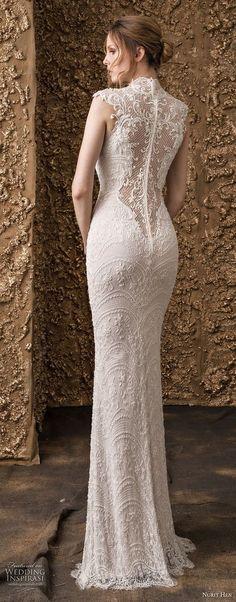 nurit hen 2018 bridal cap sleeves high jewel neck full embellishment elegant sheath wedding dress lace back sweep train (15) bv -- Nurit Hen 2018 Wedding Dresses #wedding #weddings #bridal
