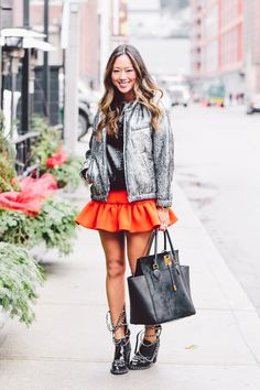 We Are Loving The Orange Skirt In This Street Style Outfit
