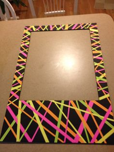 Neon Polaroid frame for photo booth, make with cardboard and neon wrapping paper!