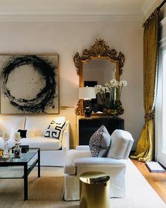Love the Artwork the black & cream mix is one of my favs - not keen on gold gilt mirror. Looks classy, timeless but cosy Living Room Colors, Living Room Sets, Rugs In Living Room, Living Room Designs, Living Room Decor, Cozy Living, Simple Living, Room Rugs, Modern Living