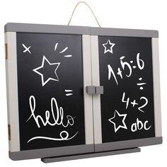 Pizarra de madera 3 en 1 con dos plafones exteriores para dibujar con tizas, 3 interiores para dibujar con rotuladores borrables y además, es magnética.