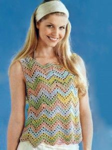 Melange top with a pattern of zigzags