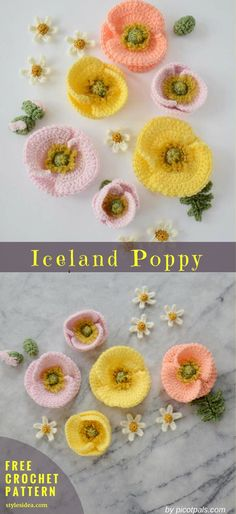 April Iceland Poppy Free Crochet Pattern |Crochet → Flower Motif | Written | US Terms Level: beginner Author: By PicotPals Mostly everyone may be able to crochet these awesome flowers. The pattern is widely described and shouldn't be difficult for beginners. #freecrochetpattern #crochetflower