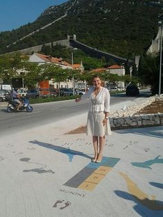 [ A painted 'Human Sundial' layout - in Ston, Croatia ]