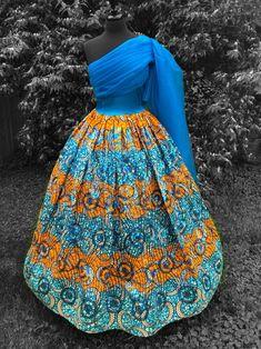 Turquoise 'n' Marigold Ball Gown, organza Dress, Sequin Ankara dress, draped bodice dress, hooped petticoat,
