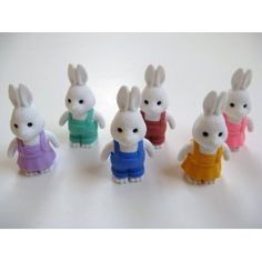 Iwako Japanese Erasers - Set of 6 Rabbits by Iwako. $6.99. Dollhouse accessory. Non toxic. Makes a great ....dare we say....eraser!. What a great Easter Basket or Egg Stuffer!. collectible and tradeable. You will receive all six white rabbits in the collection.  Each will be individually packaged in its own poly bag and header tag.