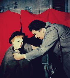 Giulietta Masina with Federico Fellini filming 'La Strada.'