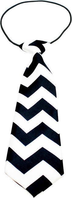 Chevron Black Big Dog Neck Tie
