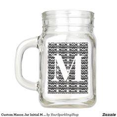 Custom Mason Jar Initial M Monogram Black White