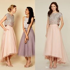 2016 Tutu Skirts Bridesmaid Prom Dresses Sparkly Two Pieces Sequins Top Vintage Tea Length Prom Dresses Wedding Party Maid Of Honor Dresses Custom Bridesmaid Dresses Dark Grey Bridesmaid Dresses From Cinderelladress, $90.7| Dhgate.Com