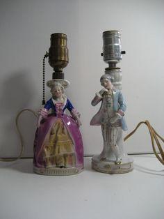 Adorable Vintage Porcelain Figurine Lamp Quot Victorian Lady