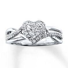 Diamond Engagement Ring 3/4 ct tw Heart-Shaped 14K White Gold