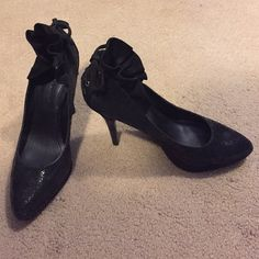 BCBGeneration Platforms Black Sparkle platforms with 4.5 inch heel with tied up shoelace look & ruffle on back of shoe! Super cute & classy! Wear with nice evening dress, skirt or skinny jeans & nice blouse! BCBGeneration Shoes Platforms