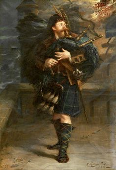 The Gordon's Warning, 1899 by George Ogilvy Reid (Scottish Scottish Dress, Scottish Culture, Amber Tree, Scotland History, Scottish Clans, Scottish Bagpipes, Celtic Music, Men In Kilts, Highlanders