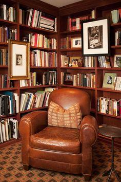 new years resolution - hang art on a bookshelf. MRK { Home } Style | The Glamourai