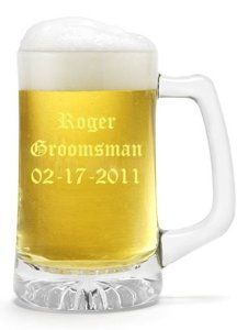Sports Beer Mugs Groomsmen Brides maid Gifts     ?Personalized 25oz beer mugs  ? Engraved mugs holds 25oz of your favourite bourbon/beverage  ?Traditional but with a contemporary twist, our personalized  ?Attached Screw down cap  ?Beer Mugs are classic tankard-style glasses with a cshaped handle and sturdy base    ?Makes a perfect give for any occasion  ?Quick Turnaround 1-3 days most jobs  ?No Minimum or Maximum Orders - Order 1 or 1,000  ?No Setup Fees  ?We can do Your Custom Logo's, C