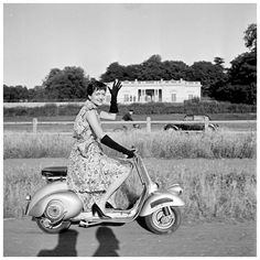 Maxime de la Falaise on the first Vespa scooter in France, photo by Walter Carone, c.1951