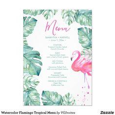 Watercolor Flamingo Tropical Menu Invitation Graduation Invitations, Zazzle Invitations, Pink Flamingo Party, Dinner Places, Estilo Tropical, Summer Party Decorations, Watercolor Invitations, Menu Cards, Wedding Signs