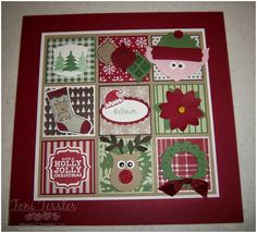 Toni Tessler (tonistamps) Independent Stampin Up Demonstrator. Christmas Inchy Framed art punch art elf stocking ornaments wreath santa reindeer poinsettia christmas trees Stampin' Up