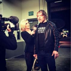 Renee Young interviewing Dean Ambrose Backstage