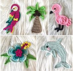 Ravelry: Tropical Hawaiian Collection pattern by Jen Mitchell - Nella's CottagePURCHASED CROCHET pattern - Tropical Appliques ~ BEGINNER to intermediate levels ~ about tall with hook ~ written instructions & photo tutorials when necessary Crochet Applique Patterns Free, Crochet Motifs, Crochet Stitches, Motifs D'appliques, Crochet Tutorial, Gift Maker, Confection Au Crochet, Crochet Embellishments, Christmas Applique