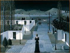 Paul Delvaux | Landscape with Lanterns | 1958 | © Albertina, Wien – Batliner collection